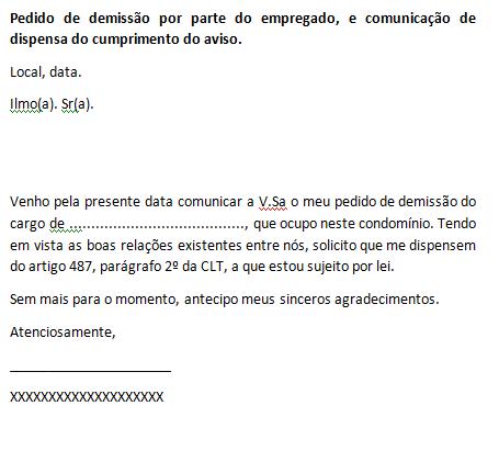 PEDIDO DE DEMISSÃO - DISPENSA DO AVISO