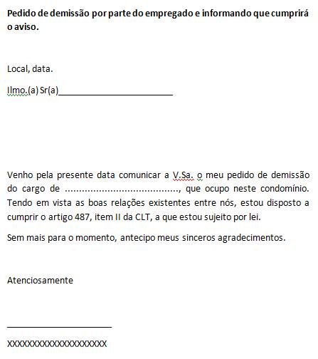 PEDIDO DE DEMISSÃO - TRABALHADOR CUMPRIRÁ AVISO